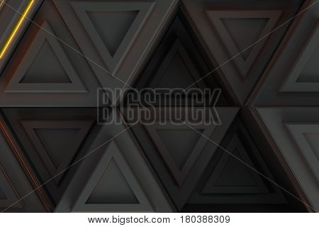 Pattern Of Grey Triangle Prisms With Orange Glowing Lines