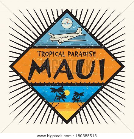 Stamp or label with the name of Maui Island Hawaii Tropical Paradise vector illustration
