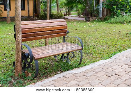 Wooden Bench In Garden Or Park Outdoor With Meadow.
