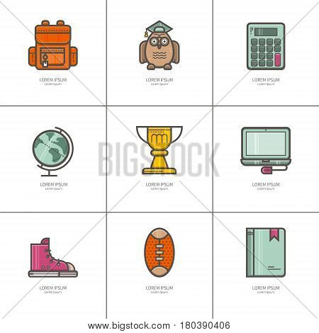Set of flat icons Education. Teacher Appreciation. Ideal for your business presentations.