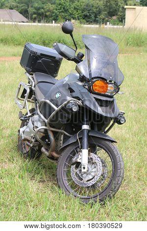 Parked Large Black Bmw Motorbike On Green Grass