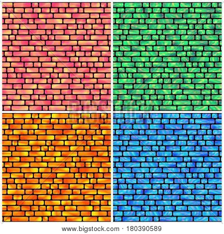 Set of Seamless Pattern with Holographic Rectangles of Different Colors. Creative Geometric Background Continued Design.