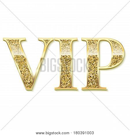 Golden symbol of exclusivity, the label VIP with glitter. Very important person - VIP icon on white background Sign of exclusivity with bright, Golden glow. Template for vip banners or card
