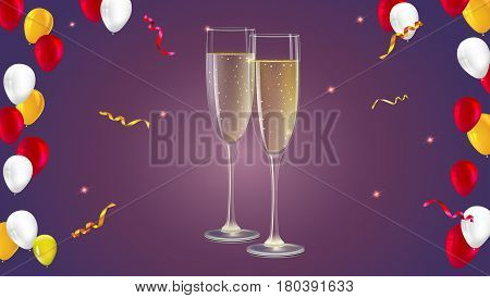 Champagne glasses with serpentine and confetti on dark background. Champagne with bubbles in a wineglass, yellow and red hearts like Inflatable balloons dark on background, 3D illustration