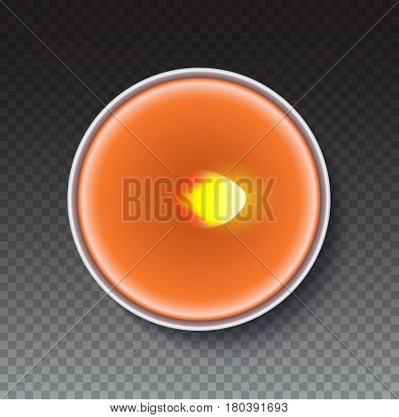 Realistic wax, flamed round candle in a metal case isolated on transparent backdrop. Top view on orange burning candle. Template for invitation or greeting cards. Vector illustration.