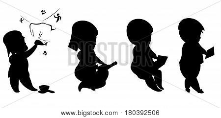Evolution man and technology silhouettes isolated on white background