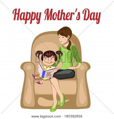 Mom reading for little baby. Illustration for mother s day
