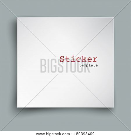 Square blank sheet of paper with curved corners, web banner, sticker or post note template for your design, soft shadow and space for text, isolated on grey background, vector illustration