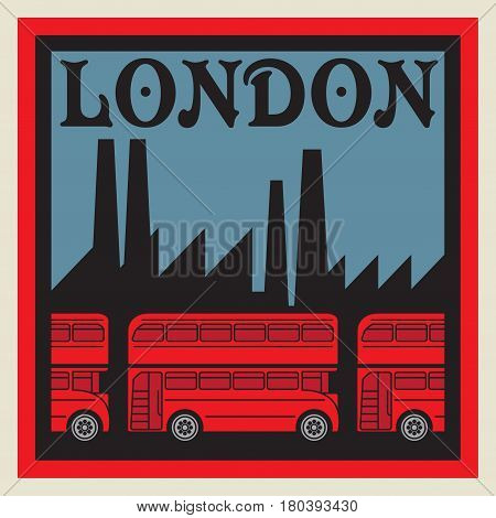 Label with text London and red Double Decker Bus. Typography t-shirt graphics poster print banner or postcard vector illustration