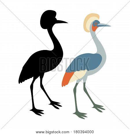 Crane Flat style vector illustration black silhouette