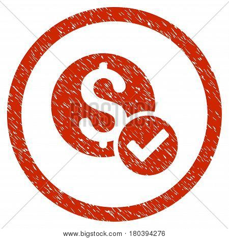 Approved Payment grainy textured icon inside circle for overlay watermark stamps. Flat symbol with unclean texture. Circled vector red rubber seal stamp with grunge design.