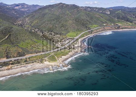Aerial of Leo Carrillo State Beach and the Santa Monica Mountains near Los Angeles California.