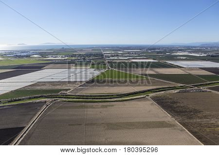 Aerial view of plowed farm fields near Camarillo in Ventura County, California.