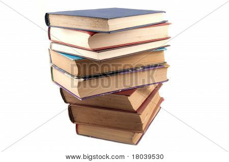 Old book stack isolated on white background poster