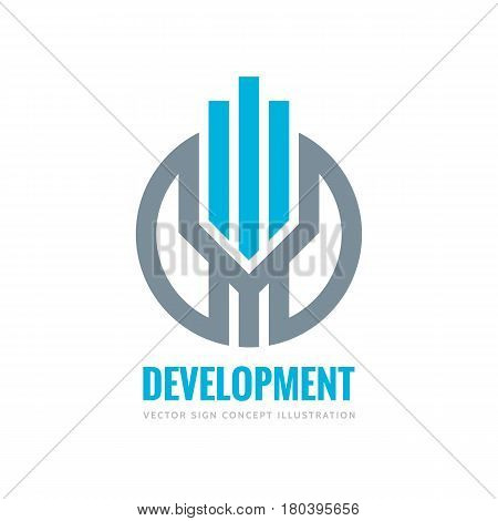 Development - vector logo template concept illustration. Vertical stripes in circle. Real estate abstract sign. Design element.