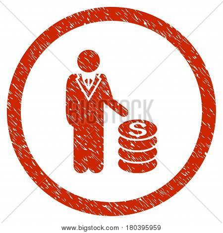 Businessman grainy textured icon inside circle for overlay watermark stamps. Flat symbol with unclean texture. Circled vector red rubber seal stamp with grunge design.