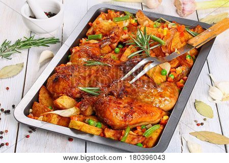 Grilled Chicken On Baking Tray With Veggies