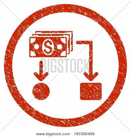 Cashflow grainy textured icon inside circle for overlay watermark stamps. Flat symbol with dust texture. Circled vector red rubber seal stamp with grunge design.
