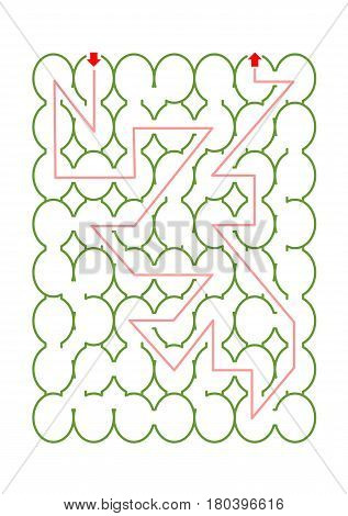 Oval or egg shaped maze game with solution path visible. If needed, add characters and task text. Suitable for Easter projects, for example.  Don't forget to delete the solution path.