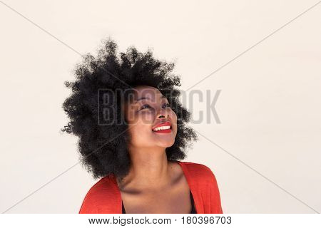 African Young Woman Smiling And Looking Up