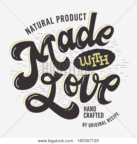 Made With Love Artistic Hand Drawn Lettering Label Sign Design. Vector Graphic.
