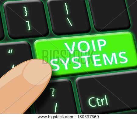 Voip Systems Key Shows Internet Voice 3D Illustration