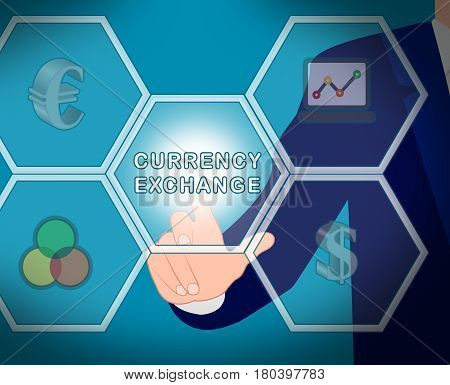 Currency Exchange Displays Forex Rate 3D Illustration