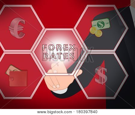 Forex Rates Displays Foreign Exchange 3D Illustration