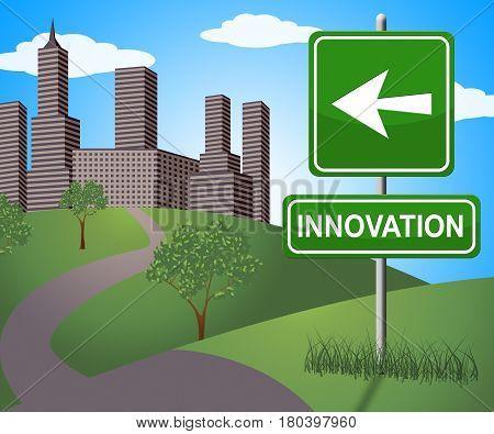 Innovation Sign Shows Reorganization Transformation 3D Illustration