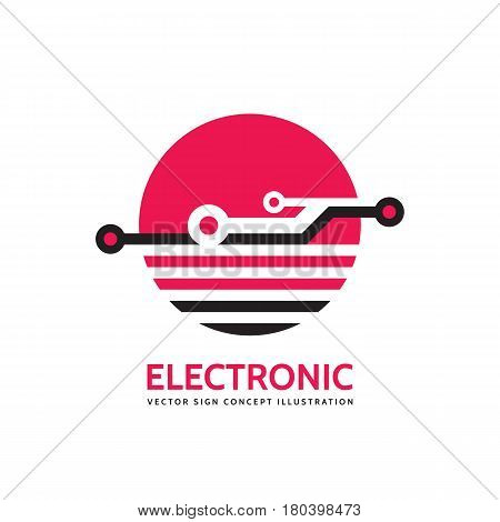 Electronic technology - vector business logo template for corporate identity. Abstract chip sign. Global network, internet tech concept illustration. Design element.