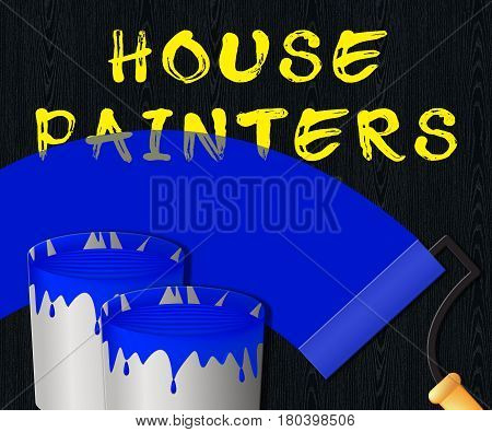 House Painters Displaying Home Painting 3D Illustration