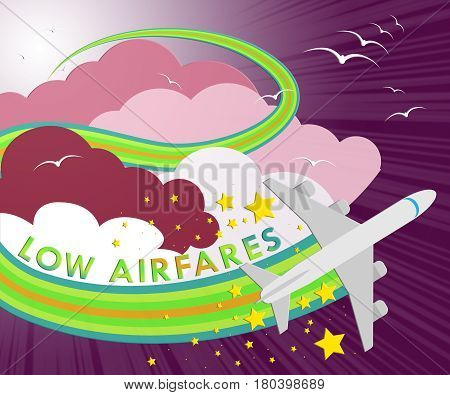 Lowest Airfares Meaning Cheapest Flights 3D Illustration