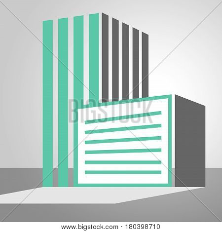 Office Building Icon Showing City 3D Illustration