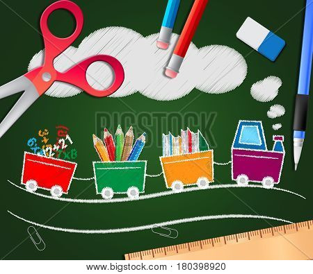 Stationery Supplies Picture Shows School Materials 3D Illustration