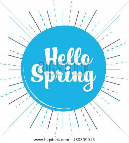 Happy circle banner with handlettering 'Hello Spring'
