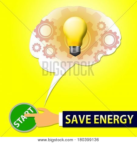 Save Energy Light Shows Reduce Electric 3D Illustration