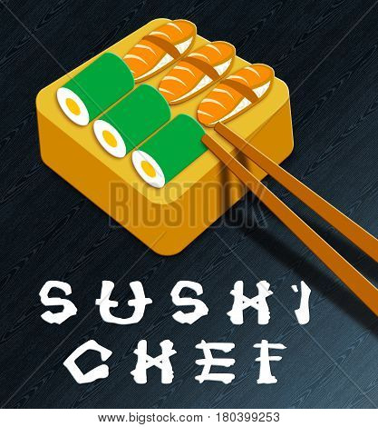 Sushi Chef Showing Japan Cuisine 3D Illustration