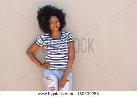 Beautiful Young African Woman Smiling With Striped Shirt