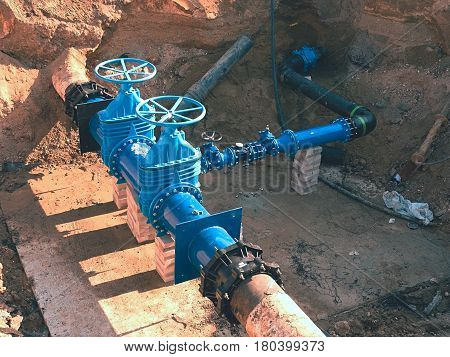 Construction Of Main City Water Supply Pipeline Underground.