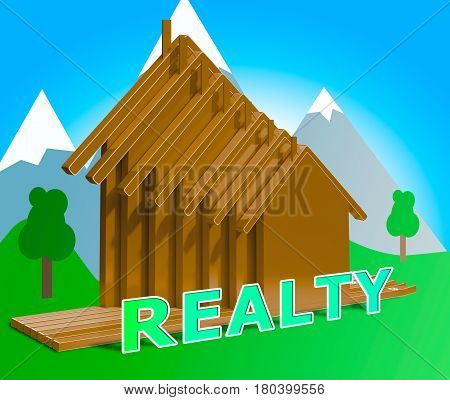 Realty Indicating Real Estate Property 3D Illustration