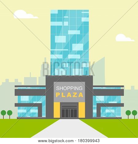 Shopping Plaza Shows Retail Shopping 3D Illustration