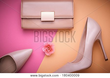 Fashion Design Woman Accessories Set. Pastel Colors. Cosmetic Makeup. Trendy fashion Handbag Clutch clothes. Glamor fashion shoes Heels.