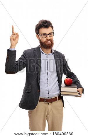 Young professor having an idea and pointing up with his finger isolated on white background