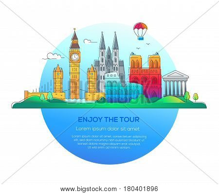 Enjoy the tour - modern vector line travel illustration. Have a trip, enjoy your vacation. Discover Italy, Germany and Great Britain. Be on a safe and exciting journey. See great landmarks such as tower of london, coliseum, cathedral, balloon, bridge