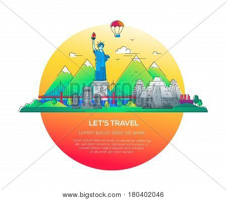 Lets travel - modern vector line travel illustration. Discover the New World continent. Have a trip, enjoy your vacation. Be on a journey. See landmarks like stature of liberty, brooklyn bridge, mayan temple