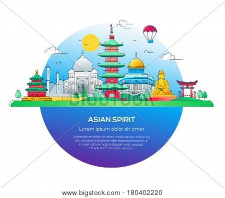 Asian Spirit - modern vector line travel illustration. Discover India, Japan. Have a trip, enjoy your vacation. Be on a journey. See landmarks like buddha , torii, mosque, taj mahal