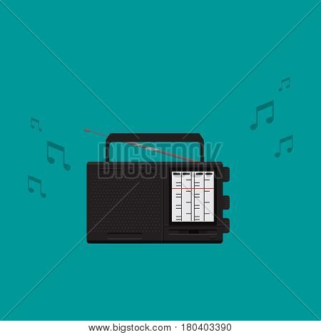 Radio on background vector concept. Technoligy illustration in modern flat style. Color picture for design web site, web banner, printed material. Radio flat icon set. Radio flat icon