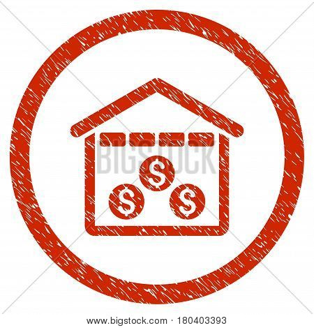 Money Depository grainy textured icon inside circle for overlay watermark stamps. Flat symbol with dirty texture. Circled vector red rubber seal stamp with grunge design.