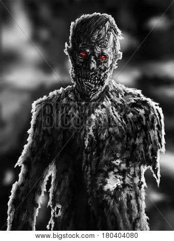 Zombie businessman drawing. Illustration on theme of apocalypse. Horror character concept. Scary face picture.
