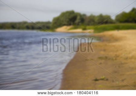 Beautiful Landscape With A River And A Sandy Beach